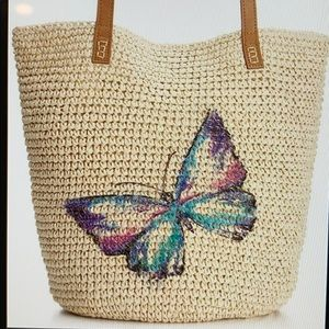 Style & Co Butterly Multicolor Straw Tote